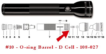 Maglite D Cell O-Ring Barrel - 108-027