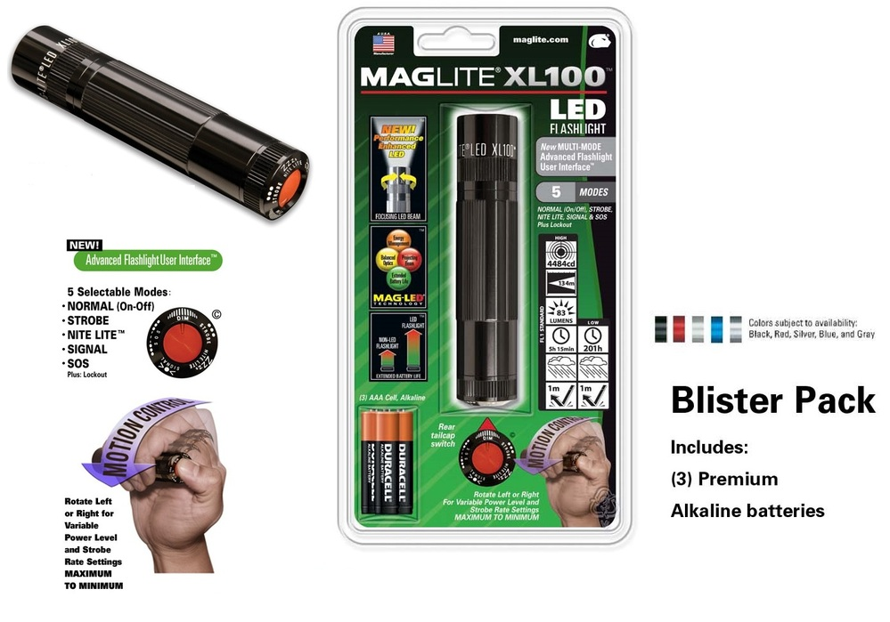 Maglite XL100 LED 3 AAA-cell Flashlight Red Blister Pack
