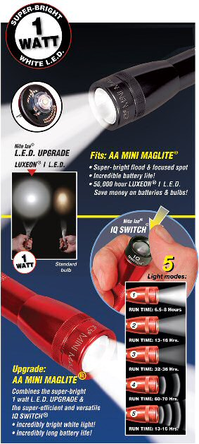 Nite Ize 1 Watt Led Upgrade And Iq Switch For Mini Maglite